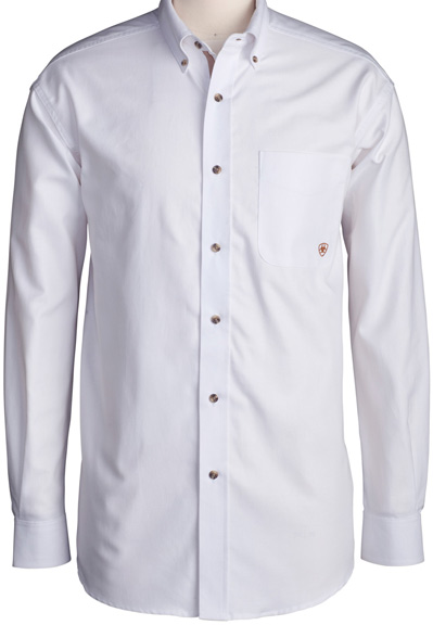 Men's Long Sleeve Western Solid Twill Button Down Shirt - White