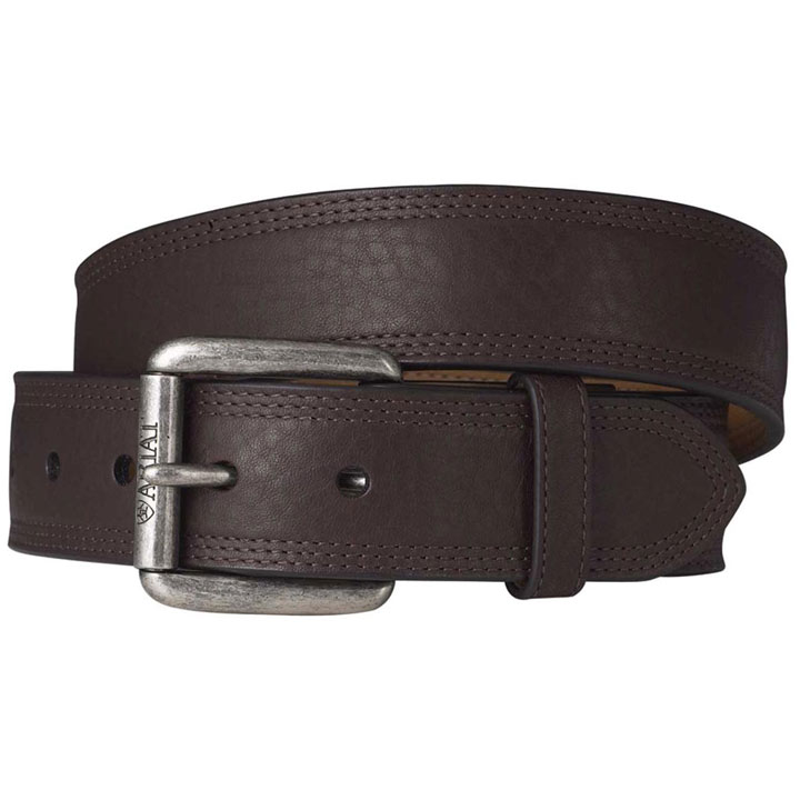 Ariat Men's Premium Leather Triple Row Stitch Belt - Dark Copper