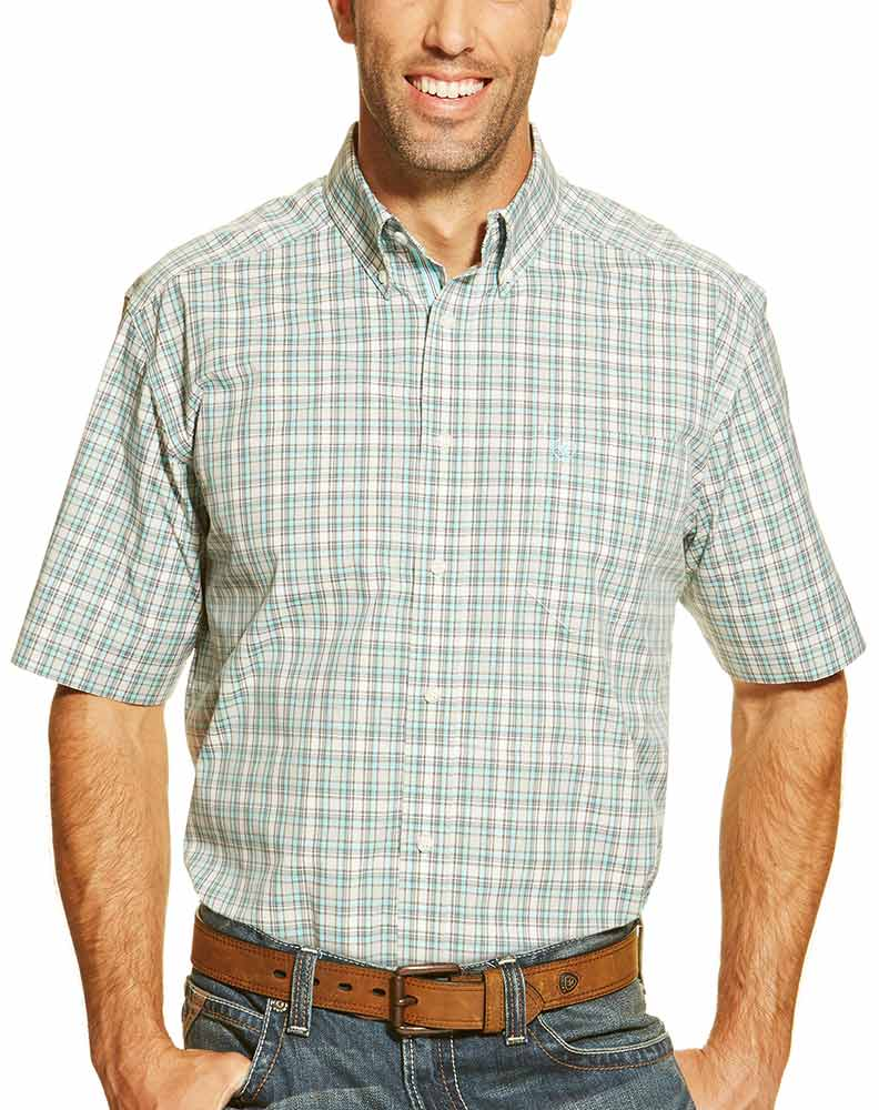 Ariat Men's Short Sleeve Jayrus Plaid Button Down Shirt - Green