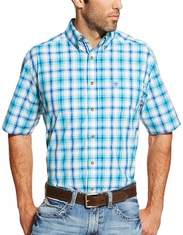 Ariat Men's Short Sleeve Plaid Button Down Shirt - Turquoise