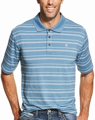 Ariat Men's Short Sleeve Player Tek Striped Polo Shirt - Teal (Closeout)