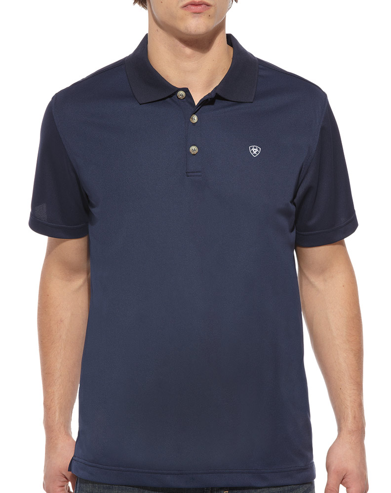 Ariat Men's Short Sleeve Solid Tek Polo Shirt - Navy