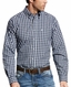 Ariat Men's Wrinkle Free Long Sleeve Plaid Button Down Shirt - Navy