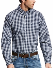 Ariat Men's Wrinkle Free Long Sleeve Plaid Button Down Shirt - Navy (Closeout)
