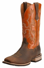 Ariat® Mens Tombstone Cowboy Boots -  Distressed Brown/Sunny Side