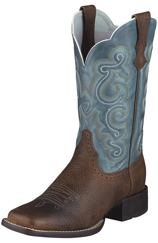 Ariat® Women's Quickdraw Performance Cowboy Boots - Brown / Sapphire Blue