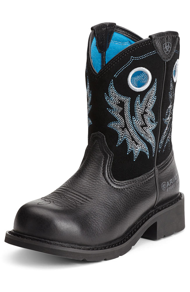 Ariat Womens Fatbaby Cowgirl Steel Toe - Black Deertan