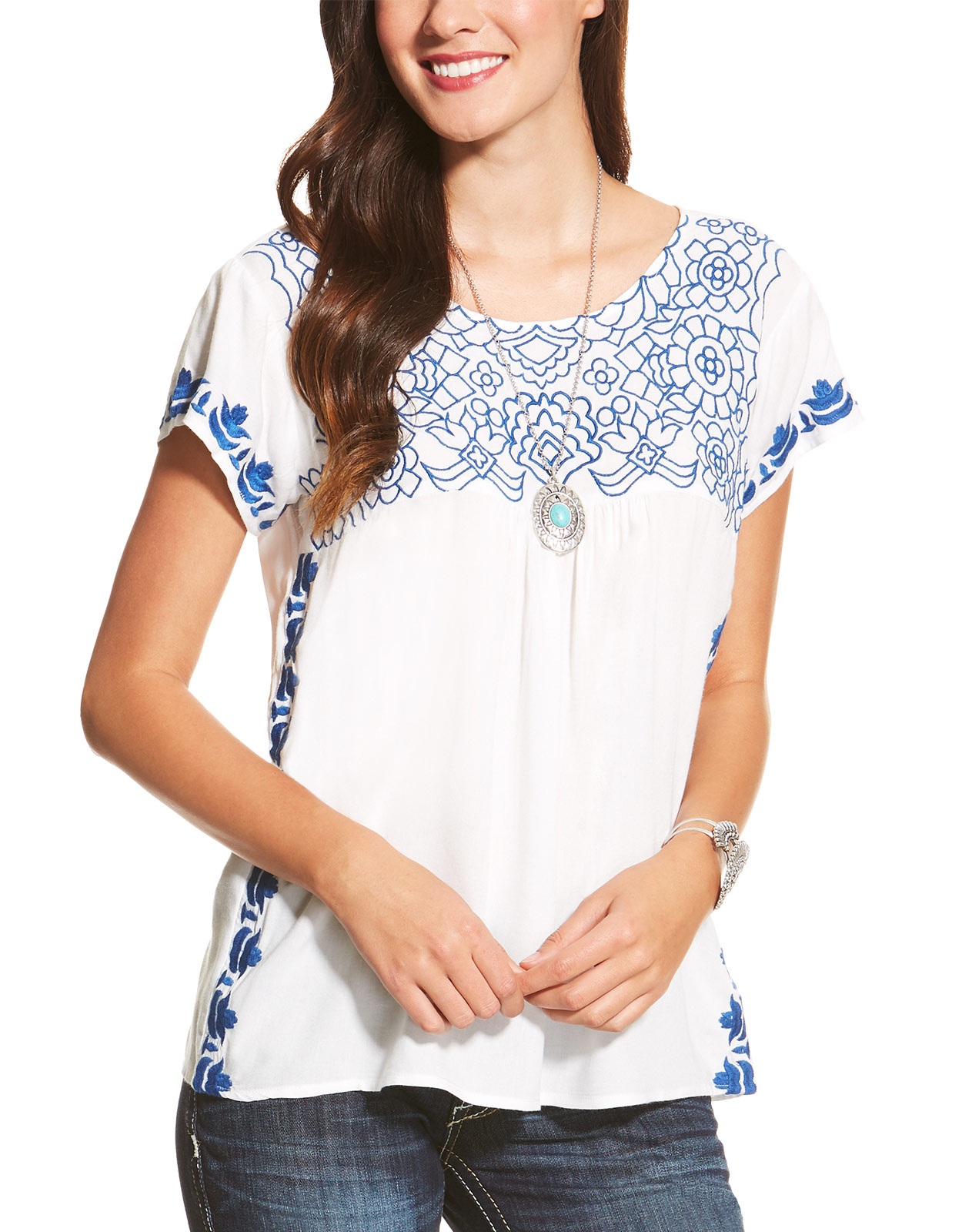 Ariat Women's Acle Short Sleeve Embroidered Top - White