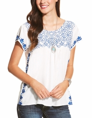 Ariat Women's Acle Short Sleeve Lace Top - White