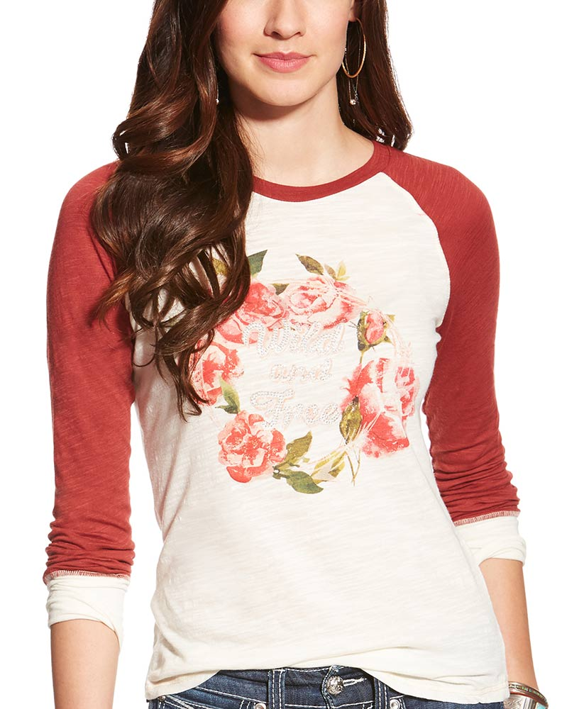 Ariat Women's Blaire Long Sleeve Floral Print Top - Whisper White (Closeout)