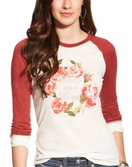 Ariat Women's Blaire Long Sleeve Floral Print Top - Whisper White