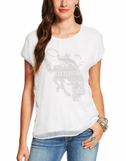 Ariat Women's Calamity Short Sleeve Print Tee Shirt - White