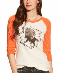 Ariat Women's Chica Headdress 3/4 Sleeve Print Top - Whisper White (Closeout)