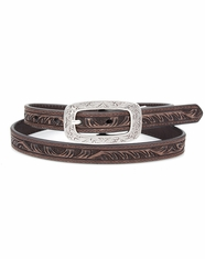 Ariat Women's Embossed Skinny Belt - Brown