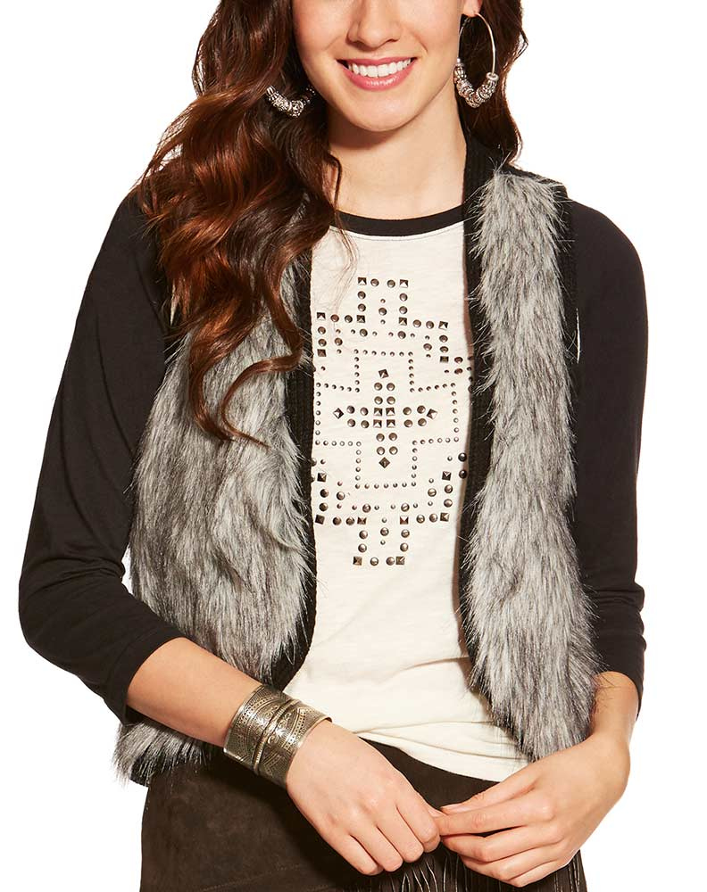 Ariat Women's Emma Faux Fur Vest - Black (Closeout)