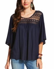 Ariat Women's Glam Short Sleeve Lace Top- Blue