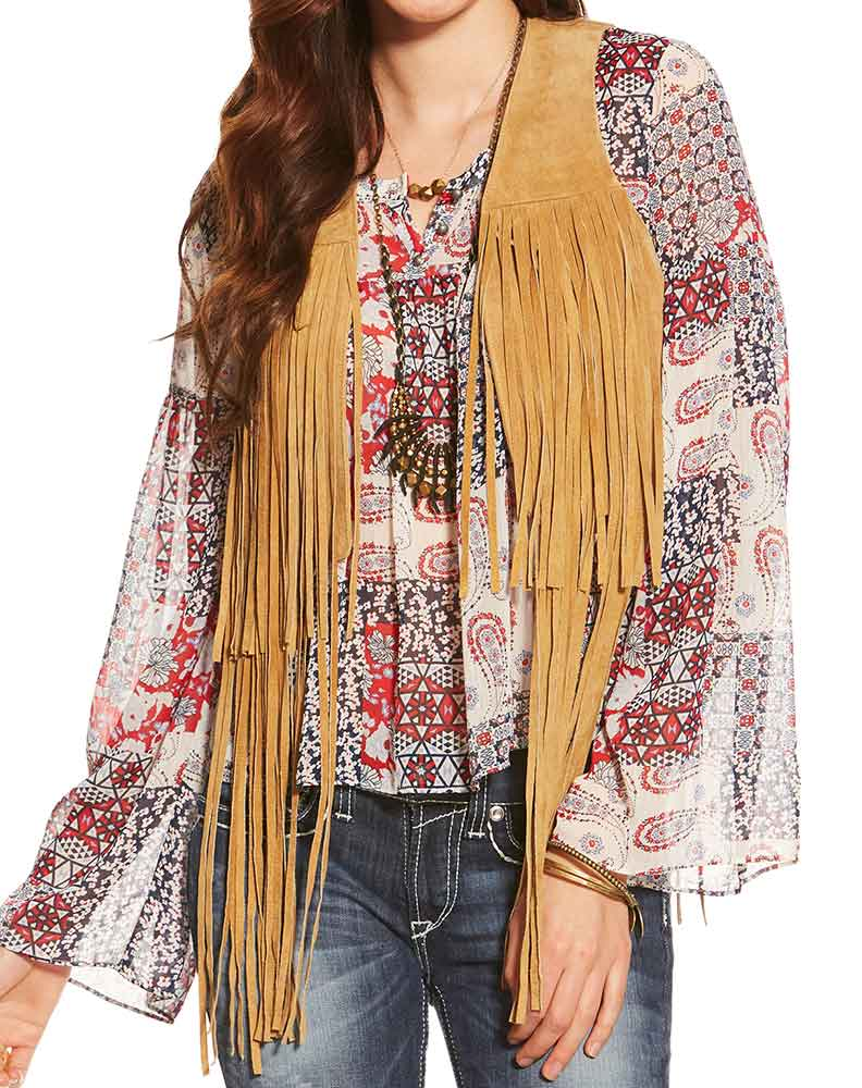 Ariat Women's Hattie Suede Fringe Vest - Tan (Closeout)