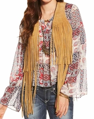 Ariat Women's Hattie Suede Fringe Vest - Tan