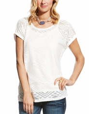Ariat Women's Joanna Short Sleeve Lace Top - White