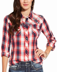 Ariat Women's Journey Long Sleeve Embroidered Plaid Snap Shirt - Red (Closeout)