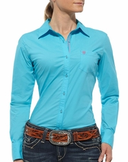 Ariat Women's Kirby Long Sleeve Solid Button Down Shirt - Turquoise