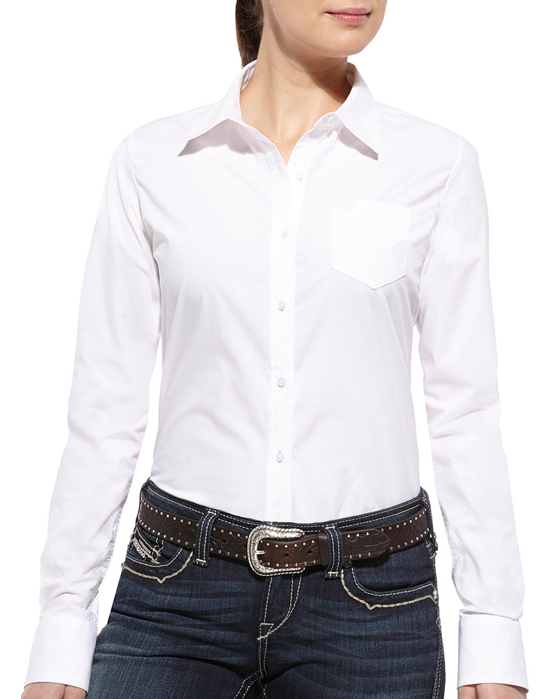 Ariat women 39 s kirby long sleeve solid button down shirt for Womens white button down shirt
