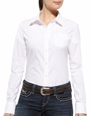 Ariat Women's Kirby Long Sleeve Solid Button Down Shirt - White
