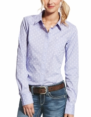 Ariat Women's Kirby Stretch Long Sleeve Print Button Down Shirt - Blue