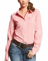 Ariat Women's Kirby Stretch Long Sleeve Stripe Button Down Shirt - Pink