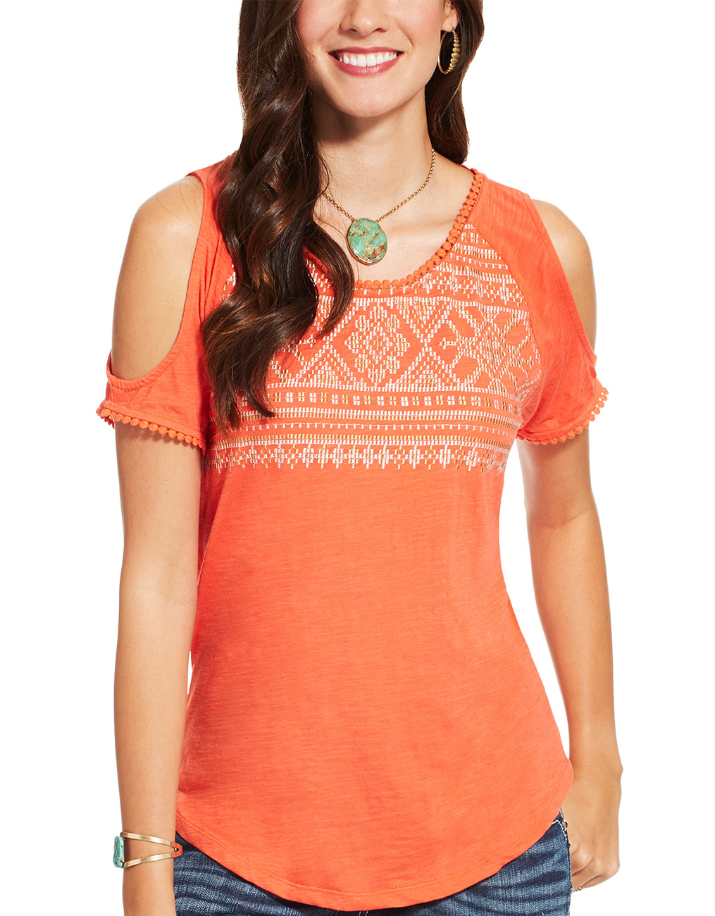 Ariat Women's Lexi Short Sleeve Embroidered Top - Red