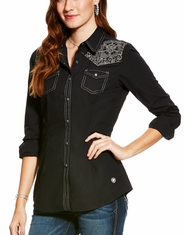 Ariat Women's Lottie Long Sleeve Embroidered Button Down Shirt - Black