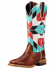 Ariat Women's Mirada Square Toe Boots - Brown/Blue Print