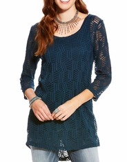 Ariat Women's Nori Long Sleeve Lace Tunic Top - Blue