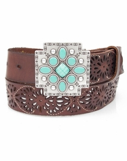 Ariat Women's Pierced Cross Belt - Brown/Turquoise