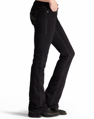 Ariat Women's Real Mid Rise Boot Cut Jeans - Black