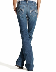 Ariat Women's Real Mid Rise Boot Cut Whipstitch Jeans - Rainstorm
