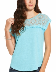 Ariat Women's Rita Short Sleeve Lace Top - Blue