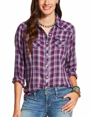 Ariat Women's Sequoia Long Sleeve Plaid Snap Shirt- Purple