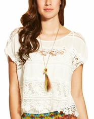 Ariat Women's Stanwyck Short Sleeve Crochet Lace Top - White (Closeout)