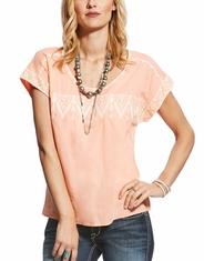 Ariat Women's Tamera Short Sleeve Embroidered Top - Peach