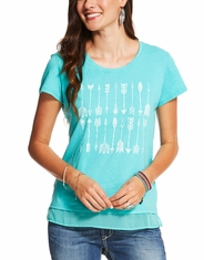 Ariat Women's Tribal Short Sleeve Print Tee Shirt - Turquoise