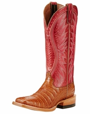 Ariat Women's Vaquera Caiman Belly Square Toe Boot - Tan/Blush