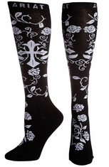 Ariat Womens Cross Knee Socks - Black
