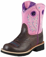 Ariat Youth Girl's Fatbaby Cowboy Boots - Roughed Chocolate/ Bubblegum (Closeout)