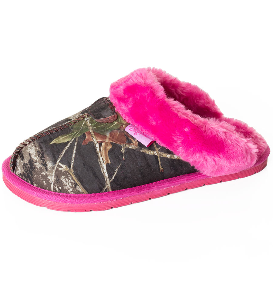 Blazin' Roxx Girl's Mossy Oak Camo Faux Fur Slipper Slide - Pink (Closeout)
