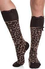 Blazin' Roxx Women's Knee Length Leopard Socks