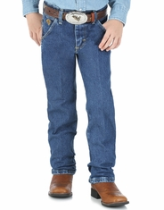 Boy's Wrangler George Straight Cowboy Cut Jeans (Sizes 8-16) - Heavy Denim Stone