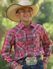 Cinch Boy's Long Sleeve Plaid Snap Shirt - Red