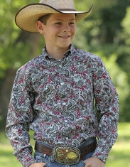 Cinch Boy's Long Sleeve Print Button Down Shirt - Multi