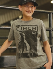 Cinch Boy's Short Sleeve Print Tee Shirt - Grey